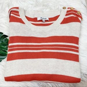 Madewell Striped Button Knit Sweater D1210